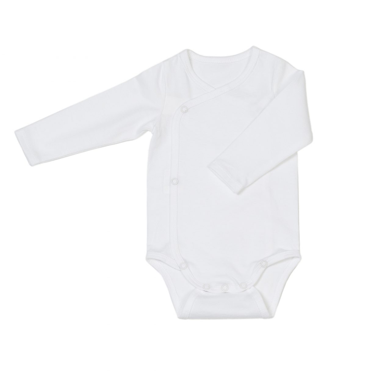 Newborn organic cotton baby bodysuit white