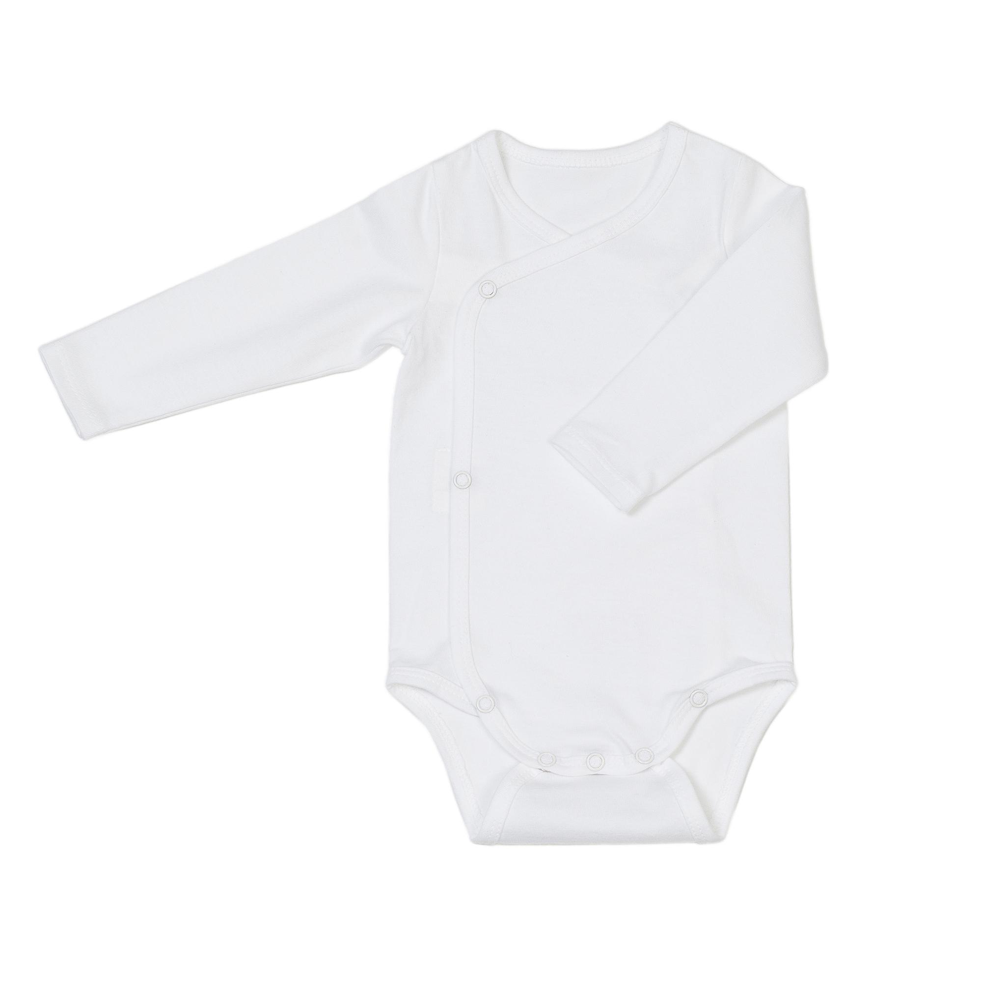 Newborn organic cotton baby bodysuit white