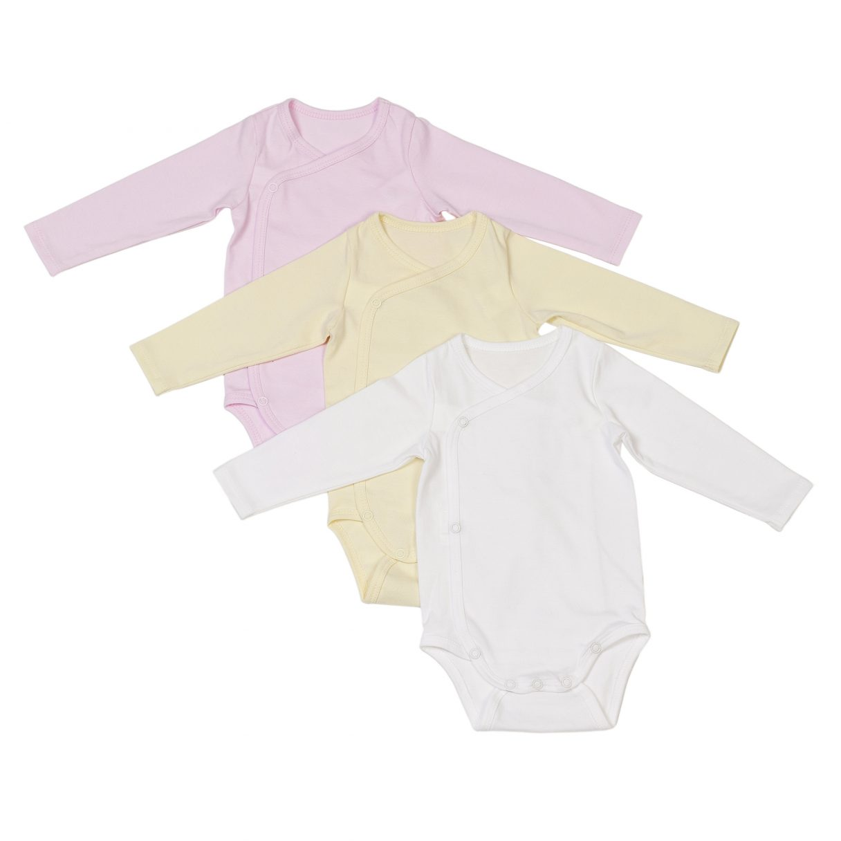 Newborn set of 3 organic cotton baby bodysuits pink yellow white