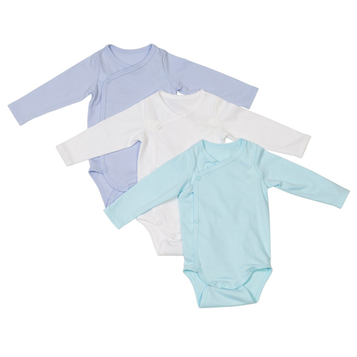 Newborn set of 3 organic cotton baby bodysuits blue white turquoise