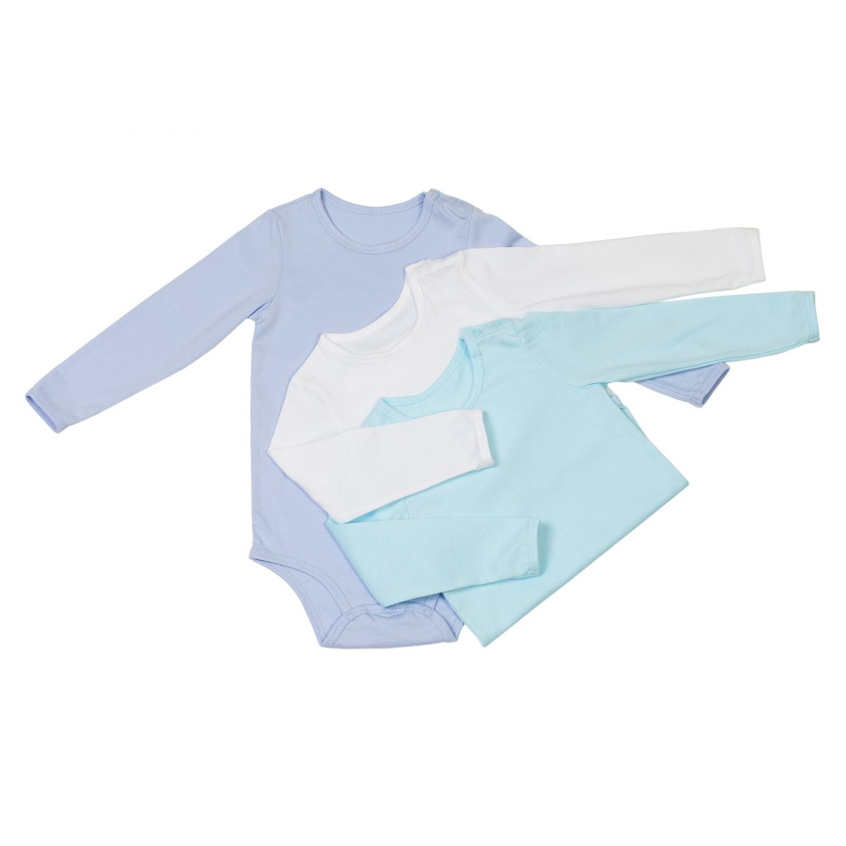 Set of 3 organic cotton baby bodysuits blue white turquoise